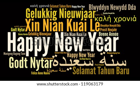 Happy New Year in different language. Words cloud. Diversity and Cultural concept.