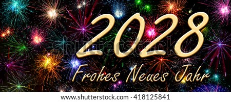 Happy New Year 2028 in German