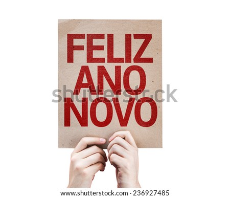 Happy New Year (in Portuguese) card isolated on white background - stock photo