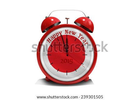 Happy new year in red alarm clock against digitally generated japan national flag