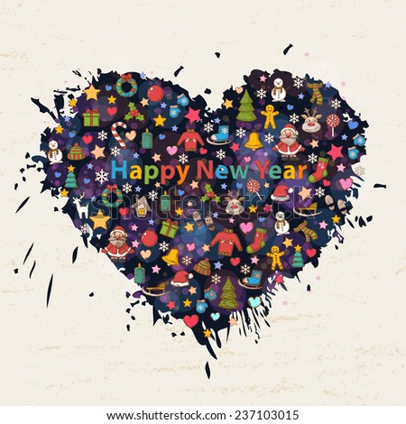 Happy New Year in the form of heart background with colorful blots,inks with Santa Claus,snowman,Christmas tree,sleigh,candy,house,ice skates,snowflake,gift,candle,wreath,mittens,hat,scarf,deer - stock photo
