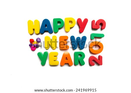 happy new year 2015 in white background