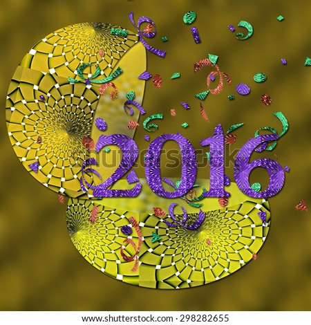 Happy New Year 2016 in Yellow - stock photo