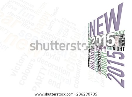 Happy New Year 2015 info-text clouds arrangement concept - stock photo