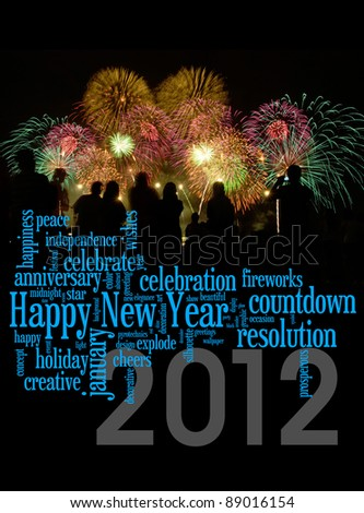 Happy New Year 2012 info-text clouds arrangement concept with fireworks as background - stock photo