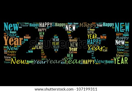 Happy new year 2013 info-text graphics arrangement on black background - stock photo