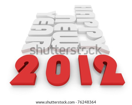 Happy New Year 2012 isolated on white - stock photo