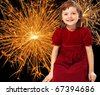 happy new year - little girl and fireworks - stock photo