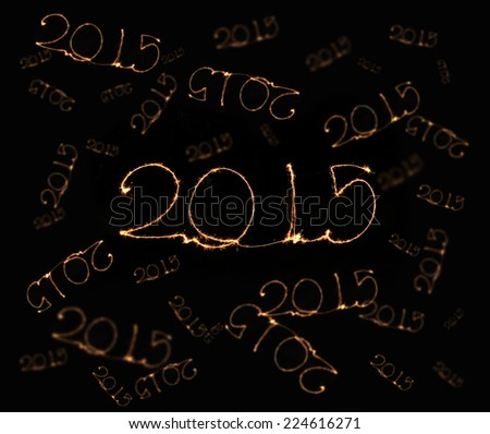 Happy New Year - 2015 made a sparkler - stock photo