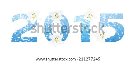 Happy new year 2015 made from Abstract circular bokeh background of Light shining on the river shot in manual mode out of focus and white lilly  - stock photo