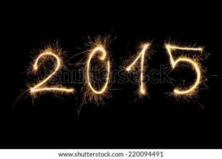 Happy new year. 2015 made from fireworks.  - stock photo
