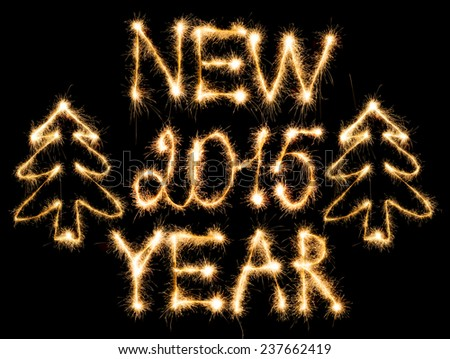 Happy New Year 2015 made of sparkles on black background - stock photo