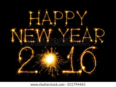 Happy New Year 2016 made with sparkles on black background - stock photo