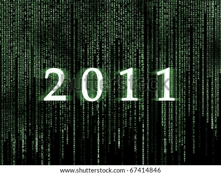 happy new year 2011 matrix background - stock photo