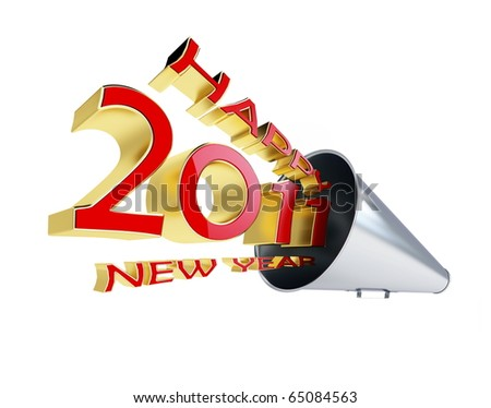 happy new year 2011 megaphone isolated on a white background