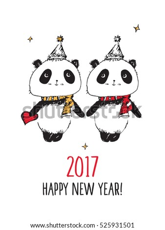 Happy New Year 2017. Merry Christmas. Greeting card with hand drawn cute pandas. Doodles, sketch
