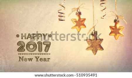 Happy New Year 2017 message with hanging star ornaments