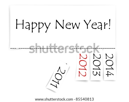 Happy New Year message with years from 2011 to 2014 - stock photo