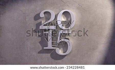 Happy New Year 2015 Metallic Text Icon over a Shaded Stone Background - stock photo