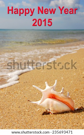 Happy New Year 2015 Murex Shell - stock photo
