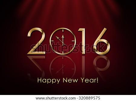 Happy New Year 2016. New Year Clock - stock photo
