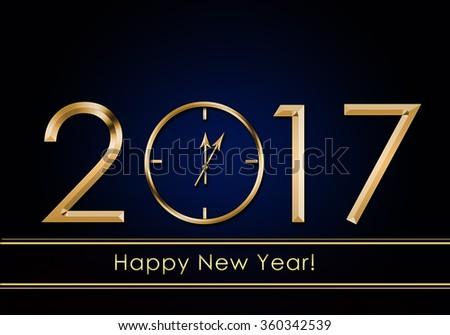 Happy New Year 2017. New Year Clock