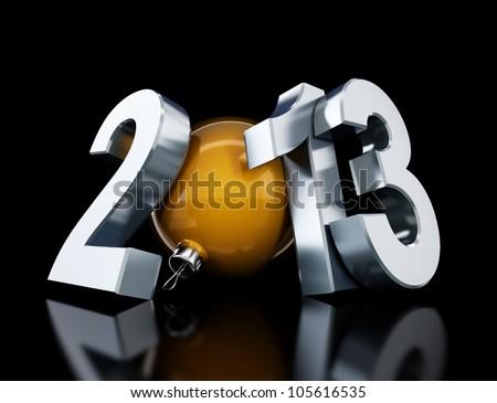 happy new year 2013 on black background - stock photo