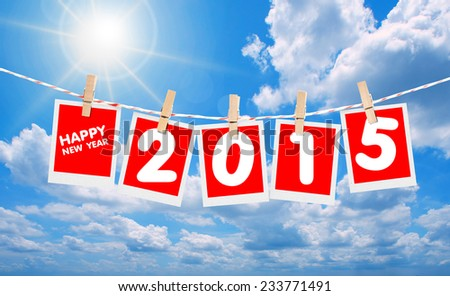 happy new year 2015 on sky.  - stock photo