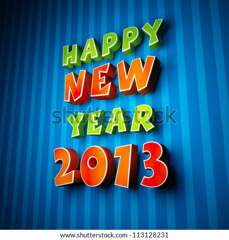 Happy new year 2013 on strip blue background - stock photo