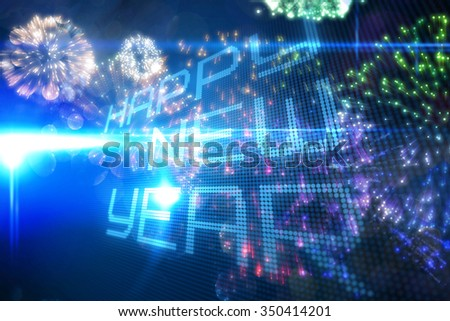 Happy new year on tech background against colourful fireworks exploding on black background