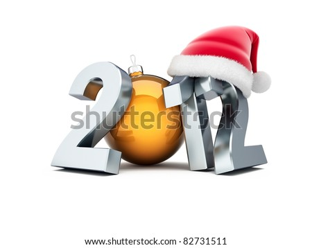happy new year 2012 on white background - stock photo