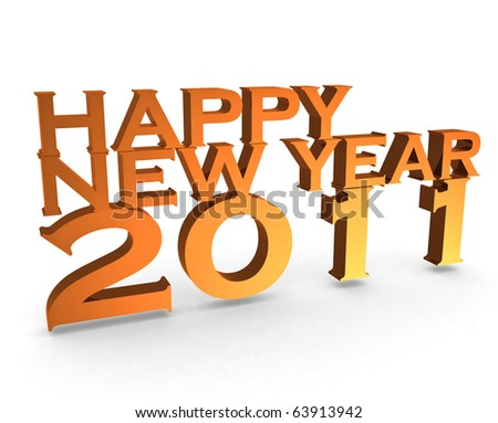 happy new year 2011 on white isolated background