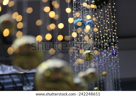 happy new year or merry christmas interior decoration with color balls and garland - stock photo