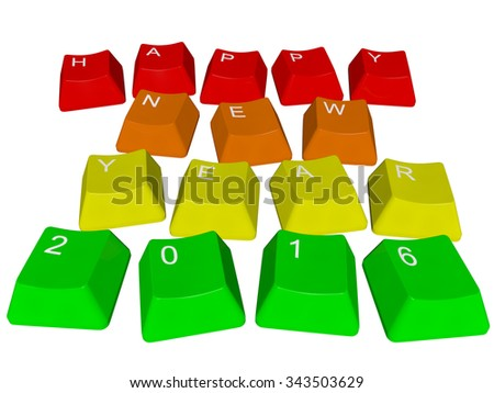 Happy New Year 2016 - PC keys - stock photo