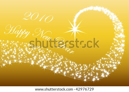Happy new year 2010 postcard with stars in gold background