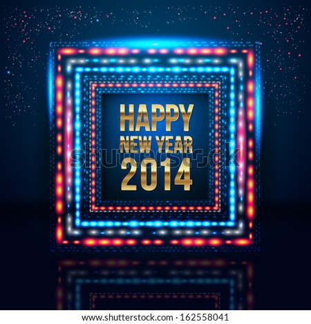 Happy New Year 2014 poster with frame made of lights.  - stock photo