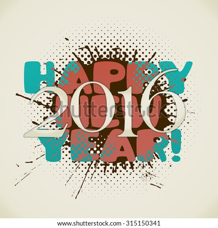 happy new 2016 year poster with splash in retro style. raster version - stock photo