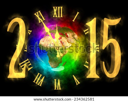 Happy new year 2015 - rainbow planet Earth - Europe, Asia and Africa