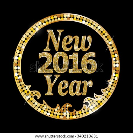 Happy New Year 2016. Raster version  - stock photo