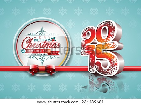 Happy New Year 2015 red celebration background with ribbon. JPG version. - stock photo