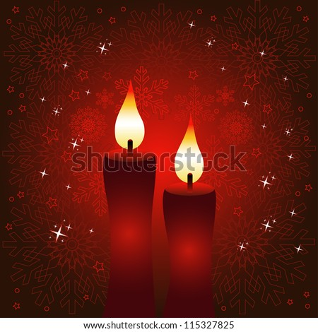 Happy New Year red greeting card or background with candles.