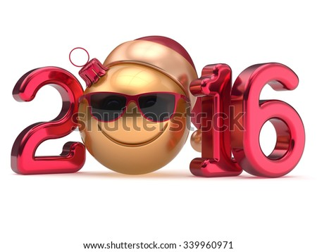Happy New 2016 Year's Eve calendar date smiley face emoticon bauble Christmas ball cartoon decoration Santa hat glasses person cute red gold. Merry Xmas cheerful smile laughing joy character 3d render - stock photo