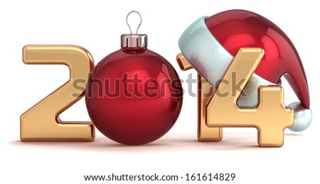 Happy New Year 2014 Santa hat Christmas ball decoration Merry Xmas holidays stylized souvenir. Detailed 3d render. Isolated on white background - stock photo
