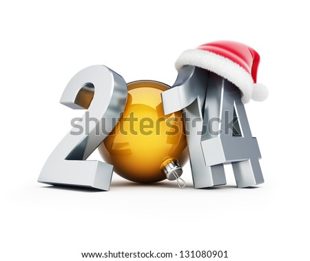 happy new year 2014 santa hat 3d Illustrations on a white background - stock photo