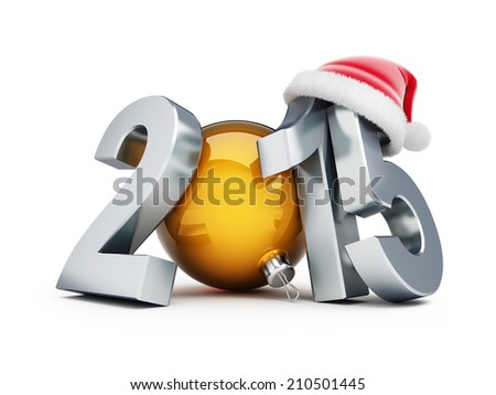 happy new year 2015 santa hat 3d Illustrations on a white background  - stock photo