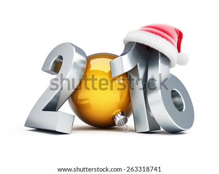 happy new year 2016 santa hat 3d Illustrations on a white background - stock photo