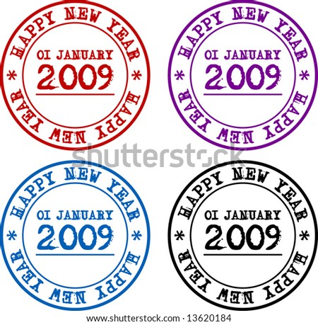 Happy New (2009) Year seal in four colors - stock photo