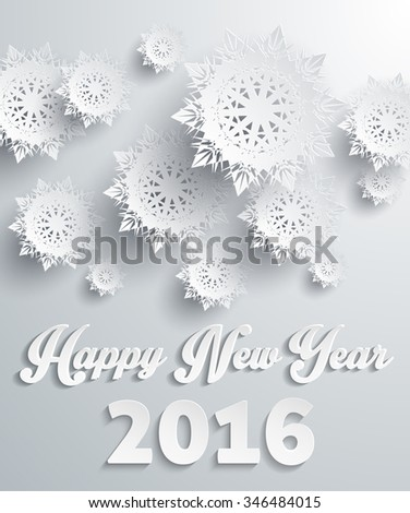 Happy New Year 2016 snowflakes background. Holiday celebration, greeting banner, season celebrate, fantasy pattern snow, festive and text, letter traditional illustration. Raster version - stock photo