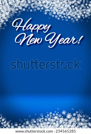 Happy New Year Snowy Blank 3D Greeting Card Background Template - stock photo