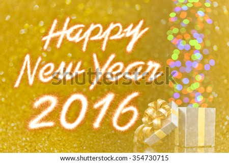 Happy new year 2016 Sparkle firework with gift box over Abstract glitter bokeh background - stock photo